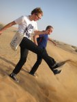 Julian and Craig kick sand
